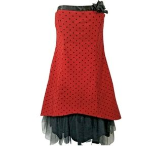 Vintage Ruby Rox Dress 9 Red Black Polka Dot Pinup